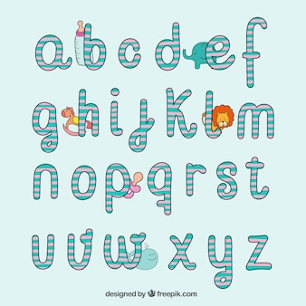 Hand drawn typography in baby style