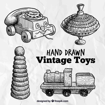 Hand drawn vintage toys