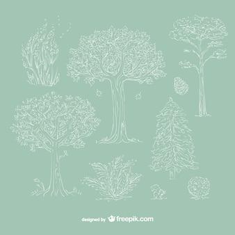 Hand drawn white trees
