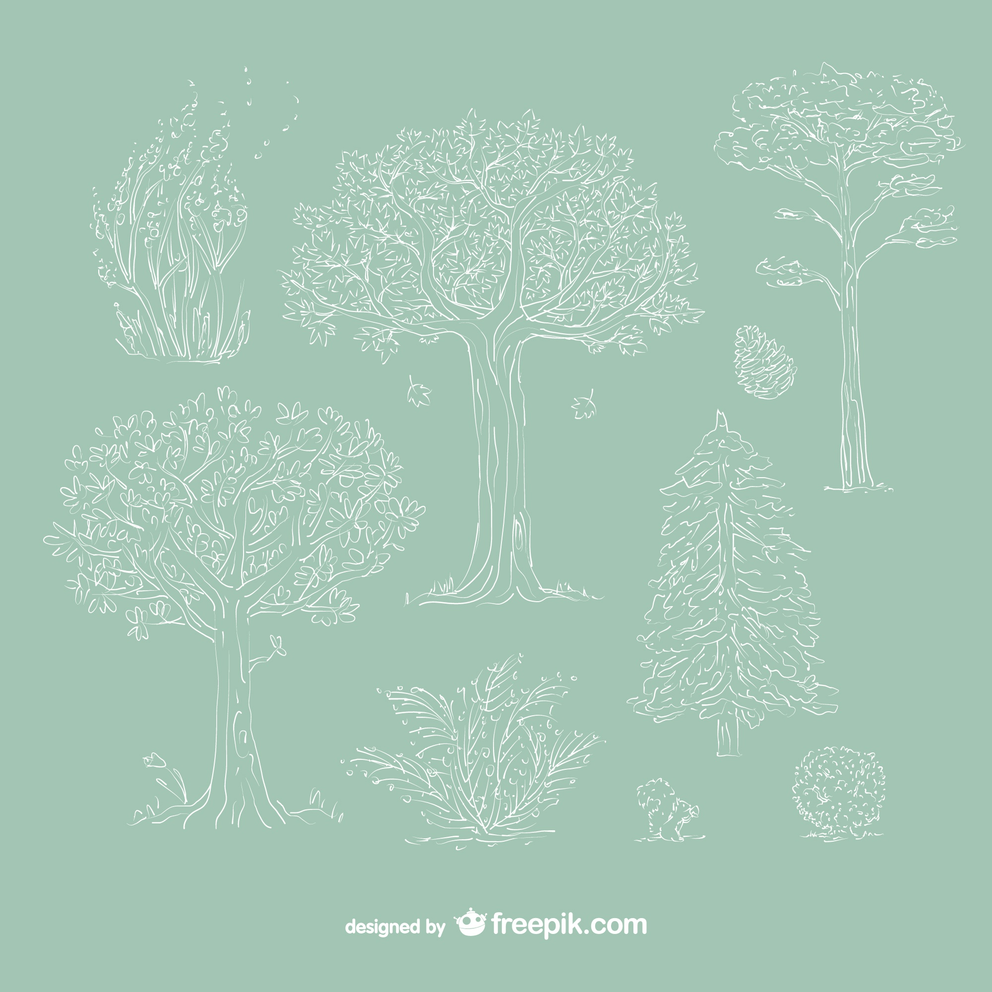 Hand drawn white trees