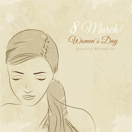 Hand drawn woman face for Women's Day