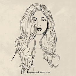 Hand drawn woman with long hair
