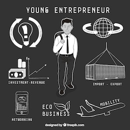 Hand drawn young entrepreneur