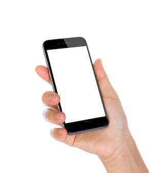 Hand holding a smartphone with blank screen and white background
