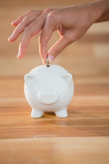 Hand inserting coin in piggy bank