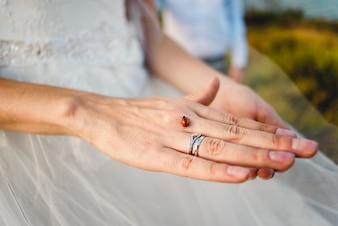 Hand of a bride with a ring