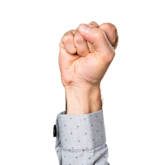 Hand of man with his closed fist