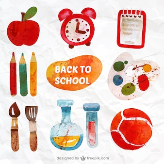 Hand painted back to school elements