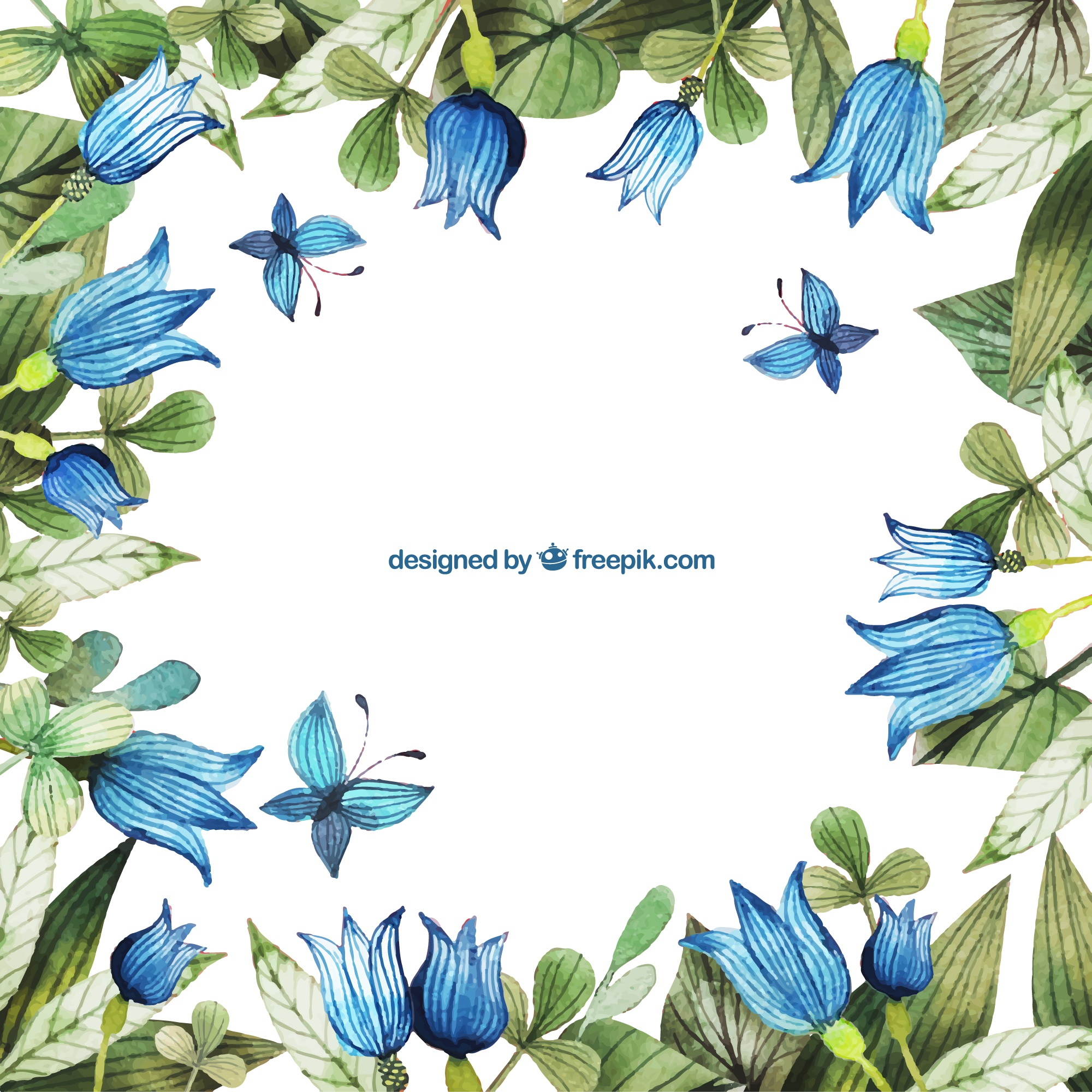 Hand painted blue flowers frame