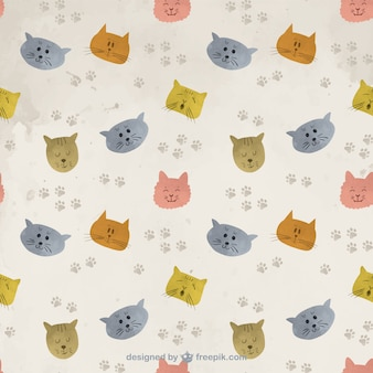 Hand painted cats pattern