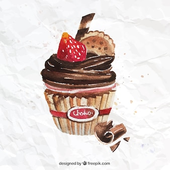 Hand painted chocolate cupcake