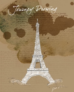 hand painted eiffel tower psd layered material