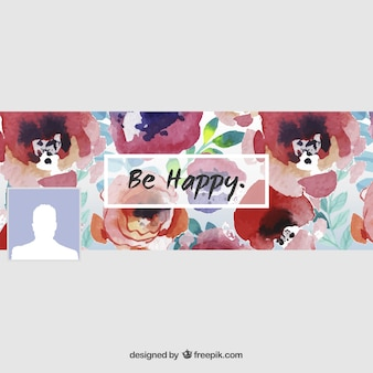 Hand painted floral facebook cover