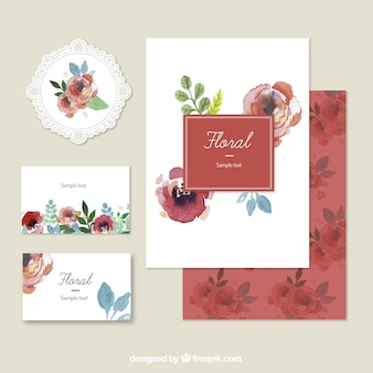 Hand painted floral stationery