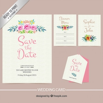 Hand painted floral wedding invitation