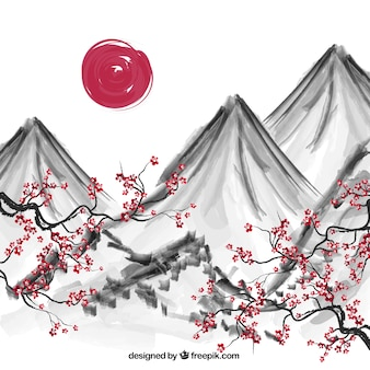 Hand painted japanese background
