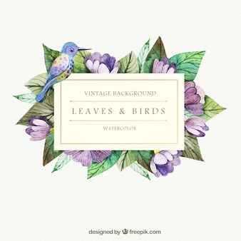 Hand painted leaves and bird background