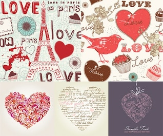 hand painted love element vector material