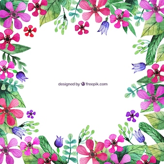 Hand painted pink flowers border
