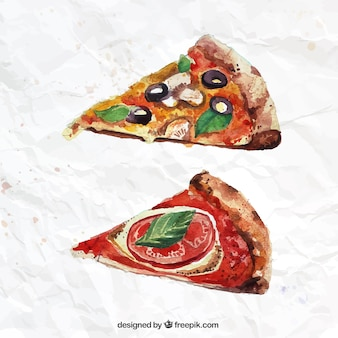 Hand painted pizza slices