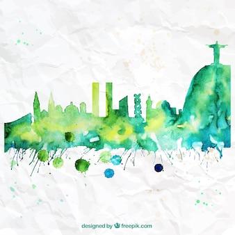 Hand painted Rio de Janeiro skyline