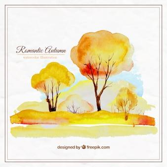 Hand painted romantic autumn