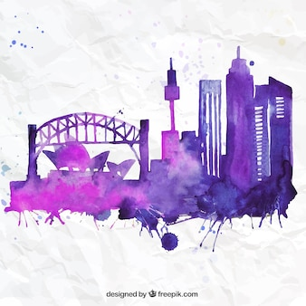 Hand painted Sydney skyline
