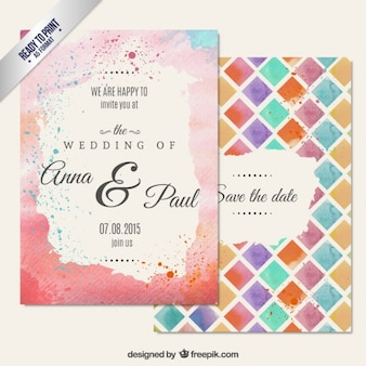 Hand painted wedding invitation in abstract style