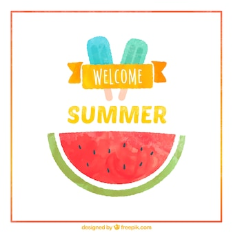Hand painted welcome summer card