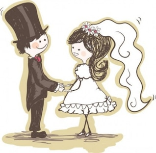 hand painting of the bride and groom vector