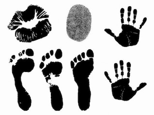 Hand prints and lips vector silhouettes
