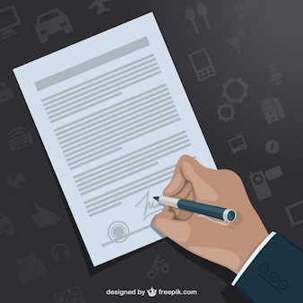 Hand signing contract vector template