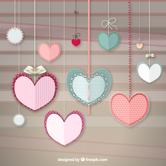 Handicraft hearts hanging