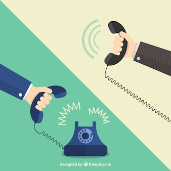 Hands holding telephones
