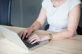Hands of senior businesswoman typing on laptop