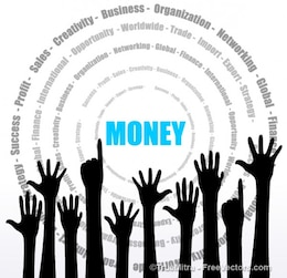 Hands up business background