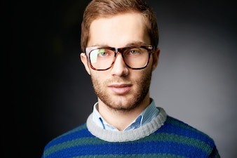Handsome guy with glasses