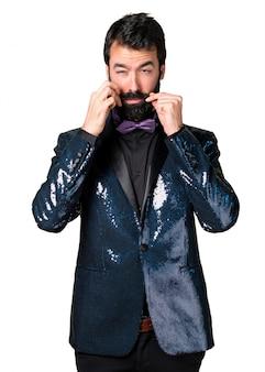 Handsome man with sequin jacket