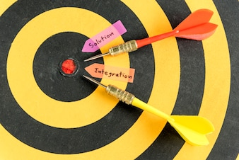Handwriting solution integration over dartboard background