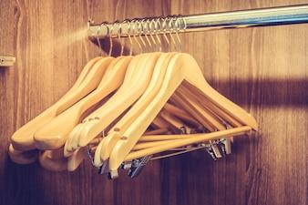 Hangers in a wooden closet