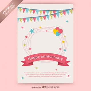 Happy anniversary card with garlands