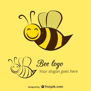 Happy bee logo template