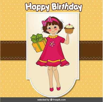 Happy birthday  card with a girl bringing a cupcake and present