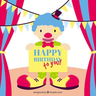 Happy birthday card with a clown