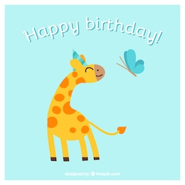 Happy birthday card with animals