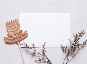 Happy birthday tag and blank postcard with flower