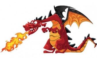 Happy cartoon dragon with flame