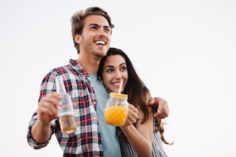 Happy couple with drink