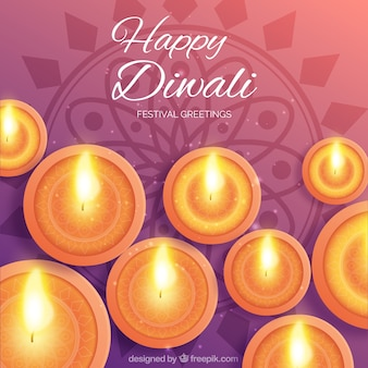 Happy diwali greeting with many flames