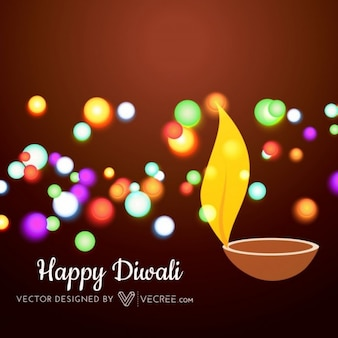 Happy diwali with colorful lights